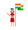 happy girl holding an indian flag and waving her vector image