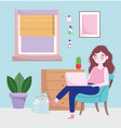 home office workspace happy woman using laptop vector image vector image