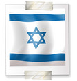 israel flag on square paper vector image vector image