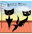 Lovely couple of black cats on the roof vector image vector image