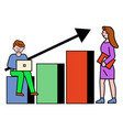 man and woman near statistics chart business tool vector image