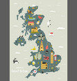 map great britain with famous symbols vector image