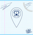 map pointer with bus line sketch icon isolated on vector image