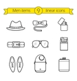 Men accessories linear icons set vector image