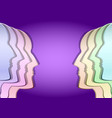 metal faces in profile in different colors vector image vector image