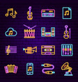 music audio neon icons vector image