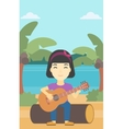 Musician playing acoustic guitar vector image vector image