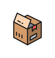 open box parcel delivery flat color icon vector image vector image