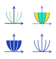 parabola curve icon set in flat and line style vector image vector image