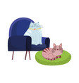 pets resting cats in chair and cushion cartoon vector image vector image