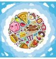 planet of delicious and funny food vector image vector image