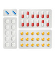 realistic pills packing medications drugs vector image