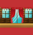 room with wooden furniture and red curtain vector image