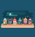 sea side night landscape with beach house vector image vector image