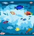 seamless pattern with hand drawn fish and corals vector image