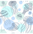 seamless pattern with jellyfishes in ethnic boho vector image