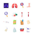 set medicine icons xray diseased lungs vector image vector image