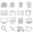 set of icons in line style accessories for office vector image