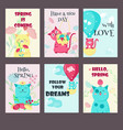 set of spring cards with cute cats vector image vector image