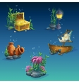 Set of underwater objects vector image vector image