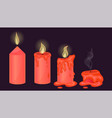 set red candles on a dark background graphics vector image