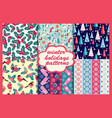 set winter holiday seamless patterns merry vector image vector image