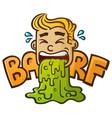 sick cartoon character puking up barf vector image vector image