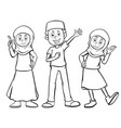three muslim characters with happy face vector image