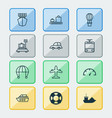 transport icons set with sea rescue vessel vector image