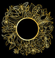 tropical gold round frame vector image vector image