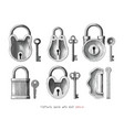 vintage lock and key collection hand draw vector image