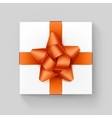 White Square Gift Box with Orange Ribbon Bow vector image vector image