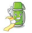 with menu thermos character cartoon style vector image
