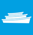 wooden boat icon white vector image vector image