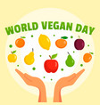 world vegan day concept background flat style vector image vector image