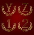 y z vintage monograms and 1 2 numbers in floral vector image