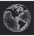 hand drawing line icon globe outline drawing vector image