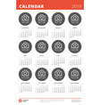 2019 year calendar poster design print template vector image vector image