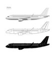 aircraft in realistic and outline style vector image vector image