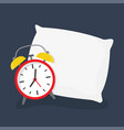 alarm clock sleeping on pillow vector image vector image