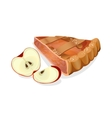 Apple pie slice with fresh red ripe fruits vector image vector image