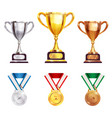 award trophy medal realistic set vector image