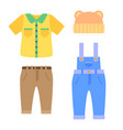 baby clothes collection for boys in toddlers age vector image