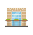 balcony with wrought iron railing and plants in vector image