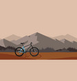 bicycle riding in wild mountain vector image vector image