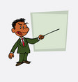 black businessman points out angry with a pointer vector image vector image