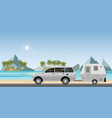 caravan car driving car on road on the beach1 vector image vector image