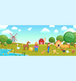 cartoon birds on farm banner vector image vector image