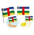 central african republic flag icon set vector image vector image