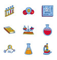 chemistry tool icon set hand drawn style vector image